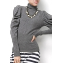 Plain High Neck Puff Long Sleeve Knitted Sweater