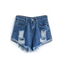 Dark Blue Loose Ripped Cuffed Denim Shorts