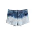 Blue Ombre High Waist Frayed Cuffs Denim Shorts