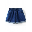Dark Blue Fold Cuff Elastic Waist Loose Denim Shorts