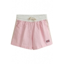Pink Sweet Style Flag Embroidered Drawstring Waist Shorts