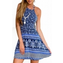 Blue Ethnic Print Halter Open Back Beach Dress