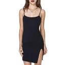 Black Skinny Split Hem Sexy Camis Dress
