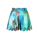 Multi Color Galaxy Print Wide Leg Fitted Shorts
