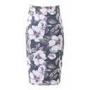 Purple Flower Print High Waist Pencil Skirt