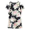 Black Round Neck Cold Shoulder Sunflower Print Dress