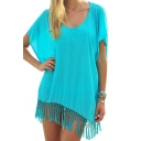 Turquoise Sheer Scoop Short  Sleeve Cover Up with Tassel