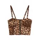 Leopard Print Zipper Front Crop Bralets
