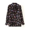 Black Elegant Flora Print Bow Neck Chiffon Shirt