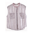 Plain Striped Mesh Sheer Sleeveless Blouse