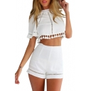 White Short Sleeve Tassel Hem Top with Shorts