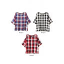 Plaid 1/2 Sleeve Back Button Fly Blouse