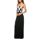 Black Curve Print Top Strapless Maxi Dress