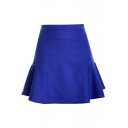 Plain High Waist Mini Peplum Skirt