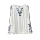 White Embroidered Long Sleeve Tied Front Blouse