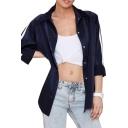 Dark Navy Button Fly Stripe Sleeve Shirt Style Coat