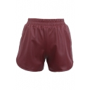 Plain Elastic Waist Low Rise PU Shorts