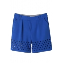Blue High Waist Cutout Loose Shorts