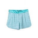 Green Polka Dot Fitted Zip Shorts