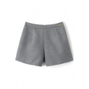 Plain Zipper Back Fitted Woolen Shorts