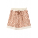 Pink Background Flora Lace Hem Drawstring Waist Loose Shorts