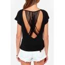 Black Round Neck Short Sleeve Multi Spaghetti Cross Cutout T-Shirt