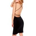 Black V-Neck Cross Backless Sheath Dress