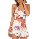 Colorful Floral Print Spaghetti Strap Crop Top with Shorts
