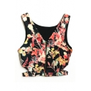 Black Background Zipper Fly Flower Cutout Side Crop Cami