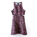 Print Round Neck Sleeveless Open Waist Dress