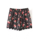 Elastic High Waist Floral Print Lace Insert Shorts