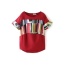 Red Short Flare Sleeve Colorful Stripe Blouse