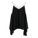 Beaded Sleeveless Chiffon Top with Asymmetrical Hem