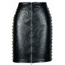 Black Embossed Pattern Rivet PU Skirt