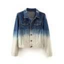 Ombre Dark Wash Lapel Long Sleeve Single-Breasted Denim Jacket