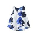Blue Flora Print Babydoll Tanks