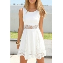 Lace Crochet Insert Plain Sleeveless A-line Dress
