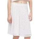 White Lace Cutout Modern A-line Midi Skirt