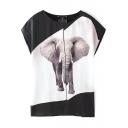 Mono Block Elephant Print T-Shirt