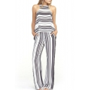 Mono Striped Round Neck Sleeveless Jumpsuit