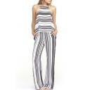 Mono Striped Round Neck Sleeveless Jumpsuit