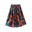 Red Rose Print Elastic High Waist A-Line Skirt