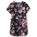 Navy Short Sleeve V-Neck Blossom Print Vintage Style Dress