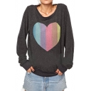 Color Block Style Heart Print Round Neck Long Sleeve Sweatshirt