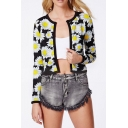 Black Background Daisy Print Round Neck Open-front Cropped Coat