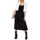 Pure White Collarless Open Front Cropped Cape