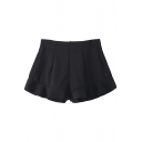 Black Plain Ruffle Hem High Waist Zippered Back Shorts