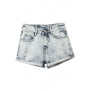White Busted Two Fake Pockets Zipper Fly Shorts