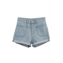 Light Wash Zipper Fly Blue Denim High Waist Shorts