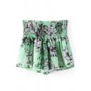 Green Floral Print Elastic Waist Ruffle Hem Culottes